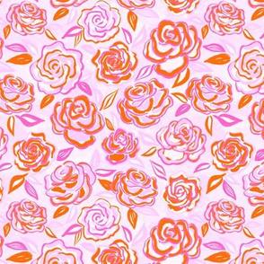 sketchy roses/bright pink/small
