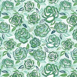 sketchy roses/green/small