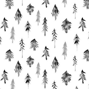 Noir magic woodland - watercolor grey fur trees - black and white trees for christmas - xmas