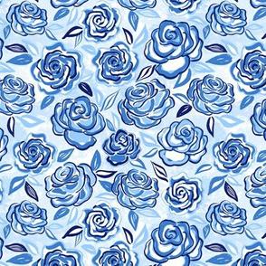 sketchy roses/blue/small