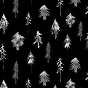 magic woodland - black and white christmas trees p265