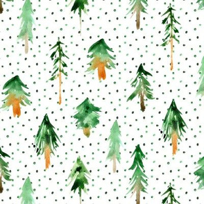Magic woodland with lots of dots ★ watercolor fir trees forest for modern home decor, nursery, christmas