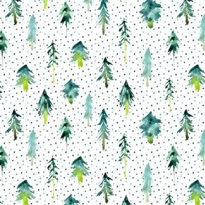magic woodland with dots - watercolor fur trees p265