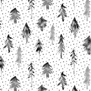 Noir magic woodland with lots of dots - watercolor black and white fir trees