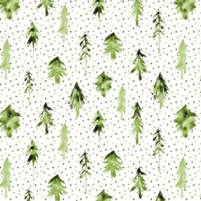 Khaki magic woodland ★ watercolor olive green fir trees for modern nursery, christmas, xmas