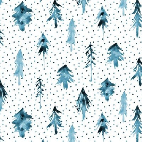 Blue magic woodland with lots of dots ★ painted tonal fir trees for christmas, nursery