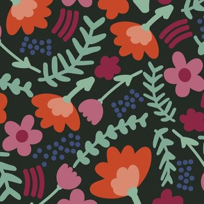 Simple dark florals // cute girls flower fabric