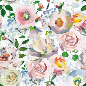 """14"""" Hand drawn acrylic blush pink and cream  monet spring flowers double on white"""