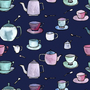 My cup of Tea with dark blue background