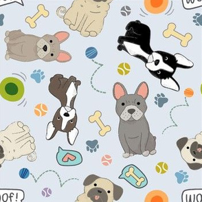 Pugs, Frenchies & Bostons on Grey