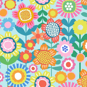 Flower Power - Pale Aqua - Large Scale