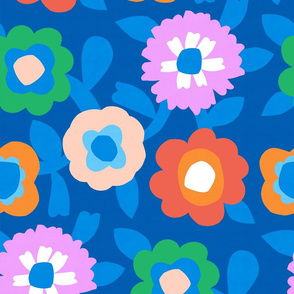 Flower Field - Blue - Large scale