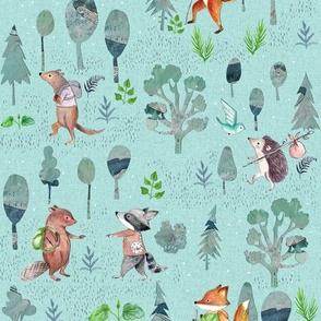 Cutout forest print blue