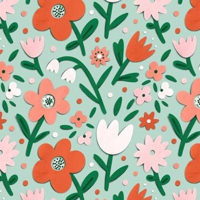 Papercut spring garden