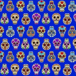 skulls on blue