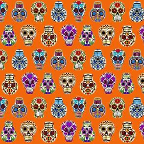 skulls on orange