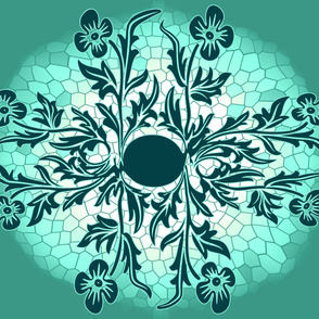 Floral Oval Quilt 1 TEAL GREEN