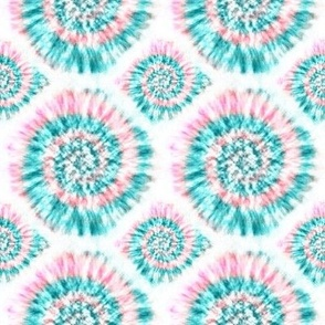 "Summer Spiral Tie-Dye in Aqua and Pink - 4"" repeat"