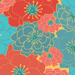 Large Floral Chintz-bright Coral and teal