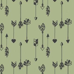Arrows Tribal Moss Green