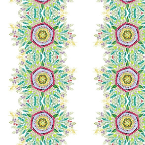 Peaceful spring floral hand-drawn mandala on white