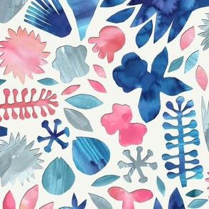 Watercolor Floral Papercut / Large
