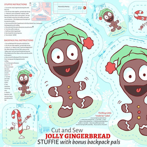 Jolly Gingerbread Stuffie Cut and Sew --  Fat Quarter Project Christmas Cut and Sew with Bonus Candy Cane, Gingerbread Man Stuffie Backpack Pals