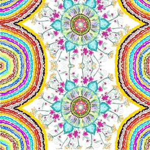 Floral mandala on white and multicolored mandala