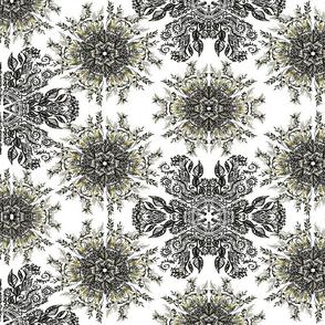 Black floral mandala on white