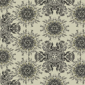 han-drawn black mandala beige