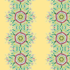mandala floral stripes on light yellow