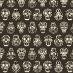 skulls bw ivory and gray
