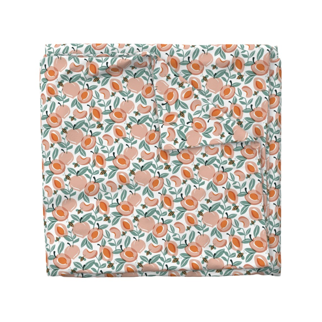 Wyandotte Duvet Cover featuring Just Peachy - Summer Fruit and Bees Regular Scale by heatherdutton