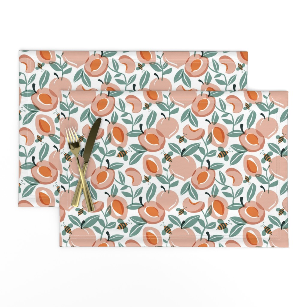 Lamona Cloth Placemats featuring Just Peachy - Summer Fruit and Bees Regular Scale by heatherdutton