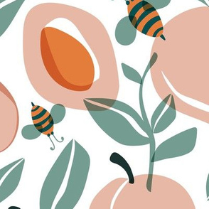 Just Peachy - Summer Fruit and Bees Large Scale