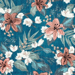 Textured Carnation Chintz - Blue