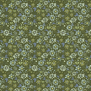 Chambray Daisies on Olive