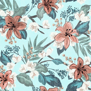 Textured Carnation Chintz - Teal