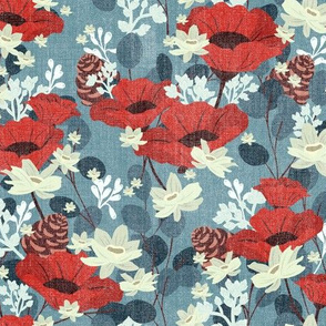 Textured Gardenia Floral V02 - Blue