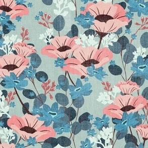 Textured Gardenia Floral V03 - Teal