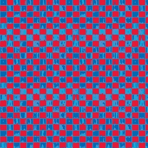 Checkerboard in red and blue