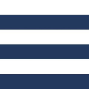 """1"""" Navy and White Stripes - Horizontal - Navy Blue / Navy Peony - 1 Inch / 1 In / 1in"""