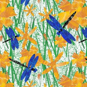 Dragonflies and flowers on splatter white small