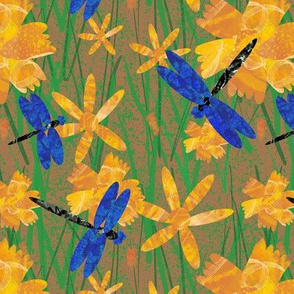Dragonflies and flowers on splatter brown small