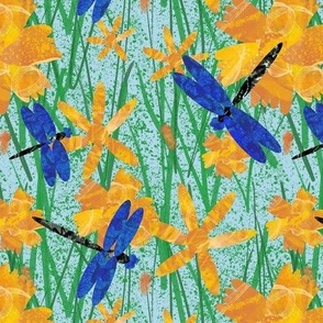 Dragonflies and flowers on splatter blue small