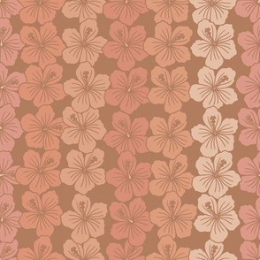 Brown and pink hibiscus stripes
