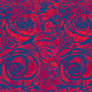 Rose Collage ,Blue on Red, Half Drop