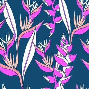 Heliconia paradise bright on navy