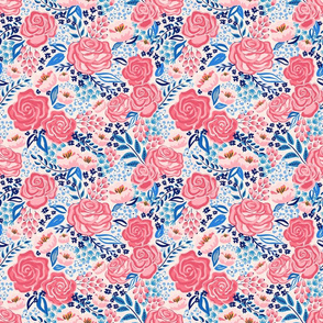 chintz roses/coral blue/small