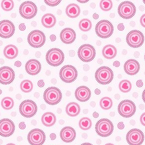 Love, hearts and swirls in pink
